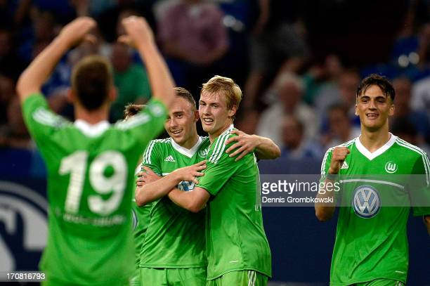 Federico Palacios-Martinez of Wolfsburg celebrates with teammates after scoring his team's second goal during the A Juniors Championships semifinal...