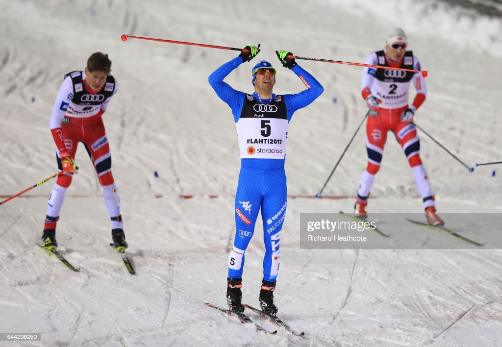 Federico Pellegrino of Italy celebrates after winning the gold medal in the Men's 1.6KM Cross Country Sprint final during the FIS Nordic World Ski Championships on February 23, 2017 in Lahti, Finland.