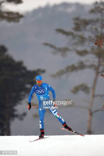 Federico Pellegrino of Italy competes in the final leg during CrossCountry Skiing men's 4x10km relay on day nine of the PyeongChang 2018 Winter...