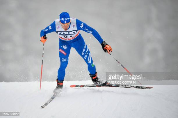 Federico Pellegrino of Italy competes in the Men's 15 km Sprint Free qualification during the cross country FIS World cup Tour de Ski event on...