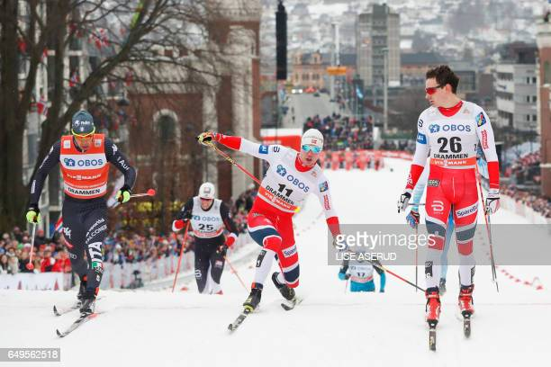 Federico Pellegrino of Italy Paal Golberg of Norway and Finn Haagen Krogh of Norway compete during the Sprint competition of the FIS Cross Country...