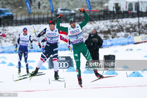 Federico Pellegrino of Italy takes 1st place Emil Iversen of Norway takes 2nd place during the FIS Nordic World Cup Men's and Women's Cross Country...