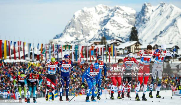 Federico Pellegrino of Italy takes 3rd place during the FIS Nordic World Ski Championships Men's and Women's Cross Country on February 24 2019 in...