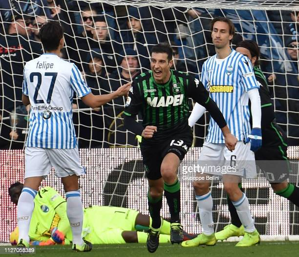 Federico Peluso of US Sassuolo celebrates after scoring the opening goal during the Serie A match between US Sassuolo and SPAL at Mapei Stadium...