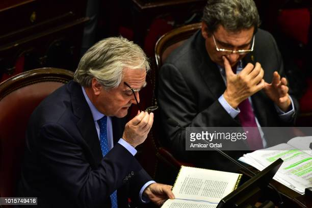 Federico Pinedo Provisional President of the Senate speaks while senators vote for the new abortion law on August 8 2018 in Buenos Aires Argentina...