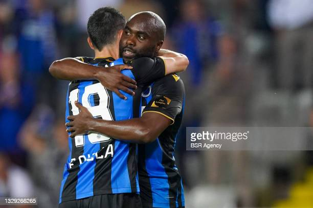 Federico Ricca of Club Brugge and Eder Balanta of Club Brugge celebrating the win of the Belgian Super Cup during the Pro League Supercup match...