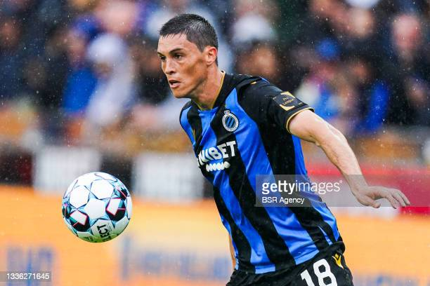 Federico Ricca of Club Brugge controlls the ball during the Jupiler Pro League match between Club Brugge and Beerschot VA at Jan Breydelstadion on...