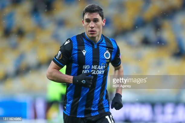 Federico Ricca of Club Brugge during the UEFA Europa League match between FC Dynamo Kyiv and Club Brugge at NSK Olimpiejsky on February 18, 2021 in...