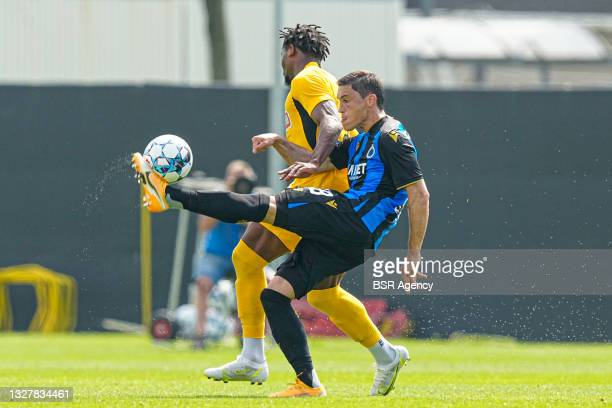 Federico Ricca of Club Brugge, Levi Garcia of AEK Athens during the friendly match between Club Brugge and AEK Athene at Complex Molenhoek on July 9,...