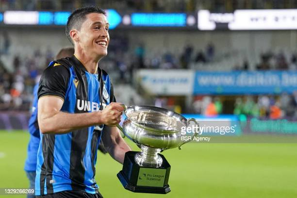 Federico Ricca of Club Brugge with the trophy for winning the Belgian Super Cup during the Pro League Supercup match between Club Brugge and KRC Genk...