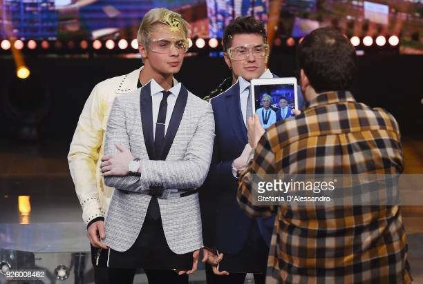 Federico Rossi and Benjamin Mascolo known as Benji Fede attend 'E Poi C'e' Cattelan Tv Show' on March 1 2018 in Milan Italy