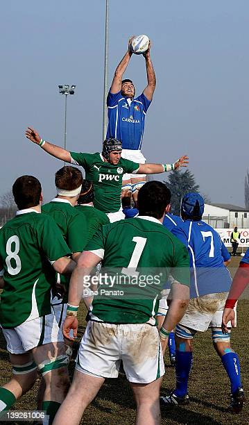 Federico Ruzza of Italy U18 wins the line out ball during the U18 rugby test match between Italy U18 and Ireland U18 on February 18 2012 in Badia...