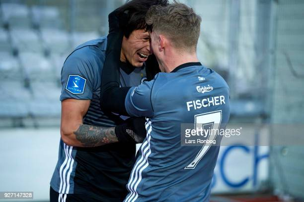 Federico Santander and Viktor Fischer of FC Copenhagen celebrate after scoring their first goal during the Danish Alka Superliga match between AGF...