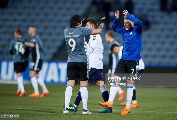 Federico Santander and Viktor Fischer of FC Copenhagen celebrate after the Danish Alka Superliga match between AGF Aarhus and FC Copenhagen at Ceres...