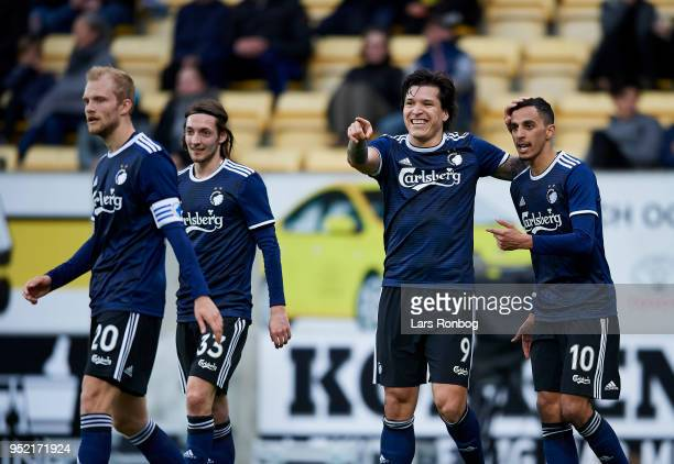 Federico Santander and Zeca of FC Copenhagen celebrate after scoring their second goal during the Danish Alka Superliga match between AC Horsens and...