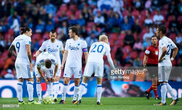 Federico Santander Jan Gregus Michael Luftner William Kvist and Nicolai Boilesen of FC Copenhagen discussing after the the 12 goal scored by...