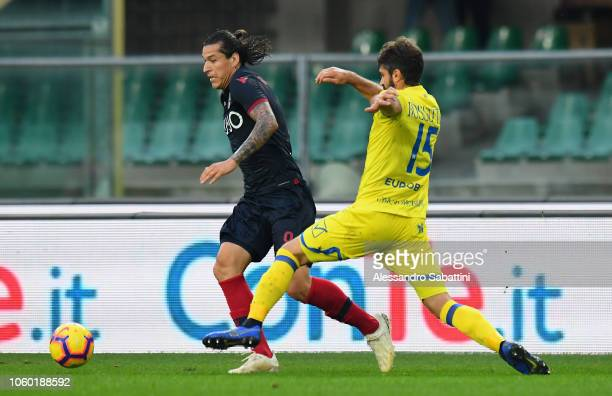 Federico Santander of Bologna FC competes for the ball with Luca Rossettini of Chievo Verona during the Serie A match between Chievo Verona and...
