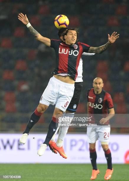 Federico Santander of Bologna FC heads the ball during the Serie A match between Bologna FC and Atalanta BC at Stadio Renato Dall'Ara on November 4...