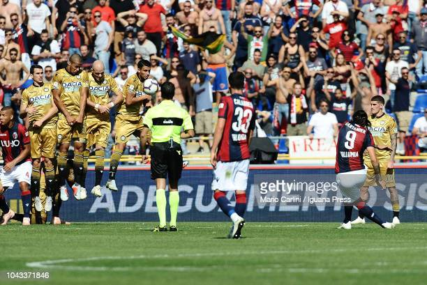 Federico Santander of Bologna FC kicks a free kick towards the goal during the Serie A match between Bologna FC and Udinese at Stadio Renato Dall'Ara...