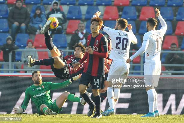 Federico Santander of Bologna FC kikcs the ball overhead during the Serie A match between Bologna FC and ACF Fiorentina at Stadio Renato Dall'Ara on...