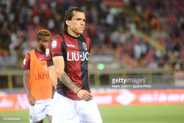 Federico Santander of Bologna FC looks dejected at the end of the serie A match between Bologna FC and SPAL at Stadio Renato Dall'Ara on August 19...