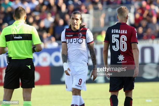 Federico Santander of Bologna looks on during the Serie A match between Cagliari and Bologna FC at Sardegna Arena on October 6 2018 in Cagliari Italy