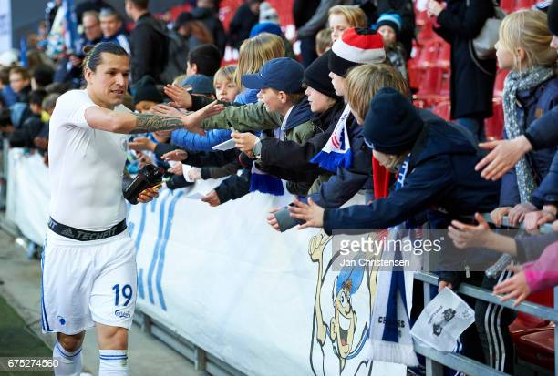Federico Santander of FC Copenhagen and fans after the Danish Alka Superliga match between FC Copenhagen and Lyngby BK at Telia Parken Stadium on...