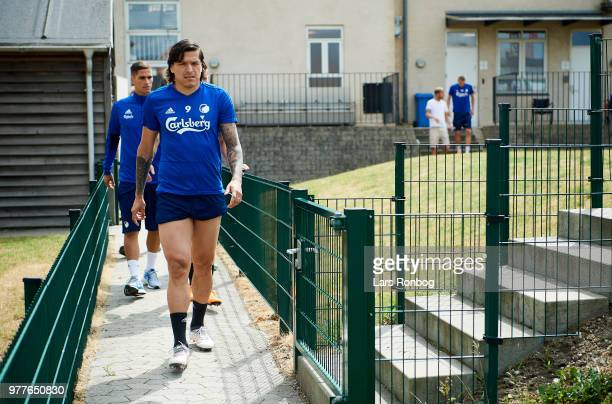 Federico Santander of FC Copenhagen arriving to the pitch prior to the FC Copenhagen training session at KB's Baner on June 18 2018 in Frederiksberg...
