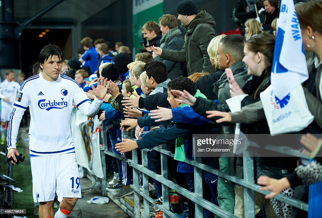 Federico Santander of FC Copenhagen celebrate with fans after the Danish Alka Superliga match between FC Copenhagen and Randers FC at Telia Parken Stadium on November 01, 2015 in Copenhagen, Denmark.