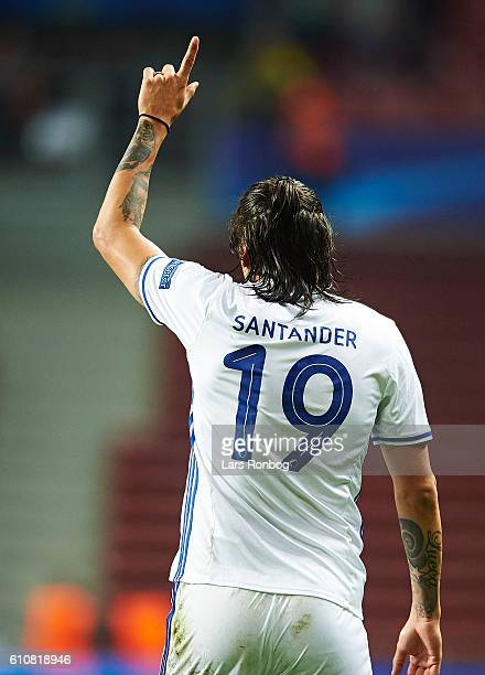 Federico Santander of FC Copenhagen celebrates after scoring their third goal during the UEFA Champions League match between FC Copenhagen and Club...