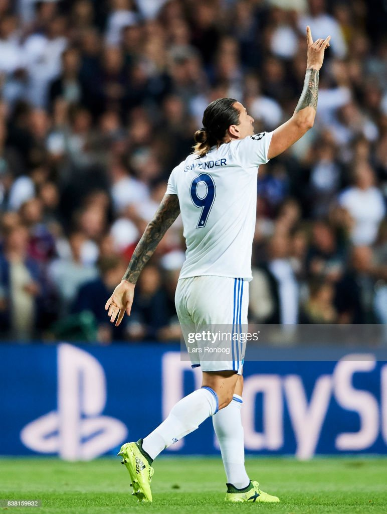 Federico Santander of FC Copenhagen celebrates after scoring their first goal during the UEFA Champions League Playoff 2nd Leg match between FC Copenhagen and Qarabag FK at Telia Parken Stadium on August 23, 2017 in Copenhagen, Denmark.