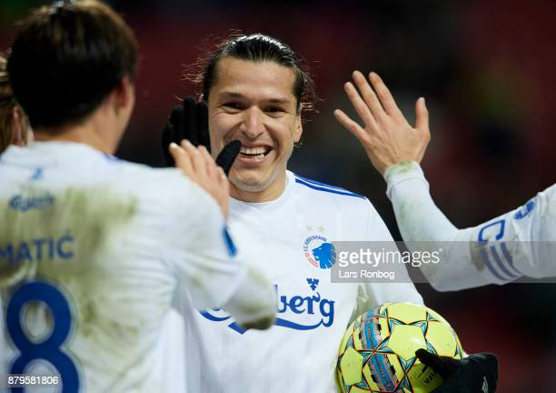 Federico Santander of FC Copenhagen celebrates after scoring their fourth goal during the Danish Alka Superliga match between FC Copenhagen and...