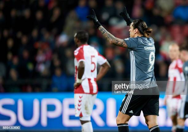 Federico Santander of FC Copenhagen celebrates after scoring their first goal during the Danish Alka Superliga match between AaB Aalborg and FC...