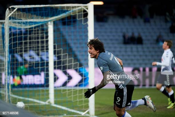 Federico Santander of FC Copenhagen celebrates after scoring their first goal during the Danish Alka Superliga match between AGF Aarhus and FC...
