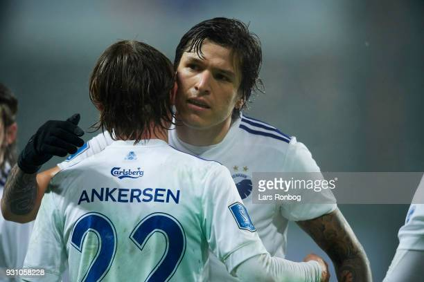 Federico Santander of FC Copenhagen celebrates after scoring their first goal during the Danish Alka Superliga match between FC Copenhagen and FC...
