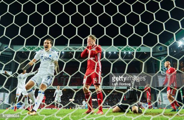 Federico Santander of FC Copenhagen celebrates when Thomas Sorensen of Lyngby BK scores the 21 own goal during the Danish Alka Superliga match...