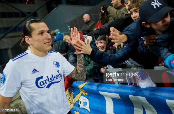 Federico Santander of FC Copenhagen celebrates with young fans after the Danish Alka Superliga match between FC Copenhagen and Lyngby BK at Telia...