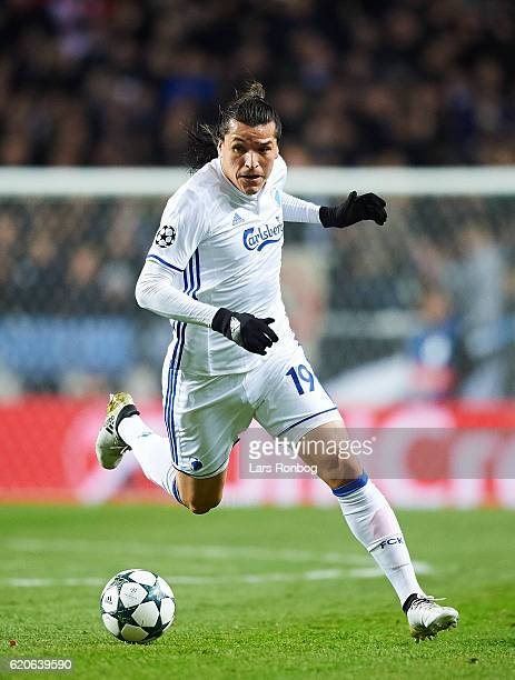 Federico Santander of FC Copenhagen controls the ball during the UEFA Champions League match between FC Copenhagen and Leicester City FC at Telia...