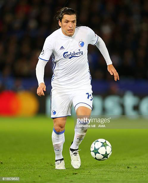 Federico Santander of FC Copenhagen during the UEFA Champions League match between Leicester City FC and FC Copenhagen at The King Power Stadium on...