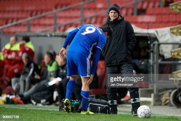 Federico Santander of FC Copenhagen get an injury and Stale Solbakken head coach of FC Copenhagen looks on during the test match between FC...