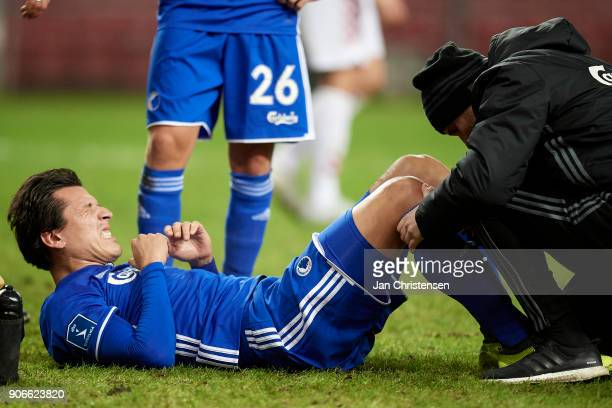 Federico Santander of FC Copenhagen get an injury during the test match between FC Copenhagen and Vejle Boldklub in Telia Parken Stadium on January...