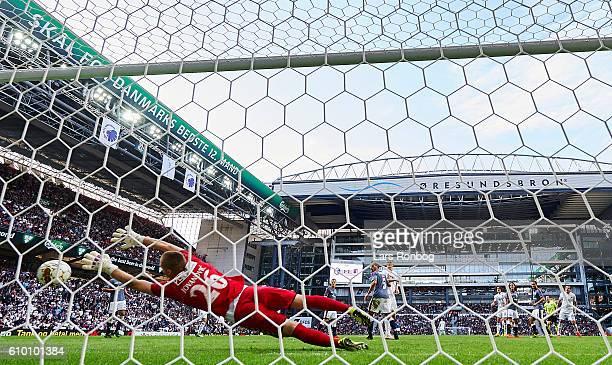 Federico Santander of FC Copenhagen scores the 10 goal against Goalkeeper Aleksandar Jovanovic of AGF Aarhus during the Danish Alka Superliga match...