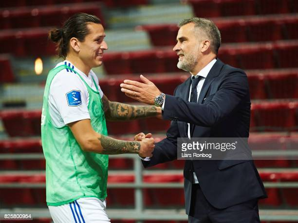 Federico Santander of FC Copenhagen shake hands with Anders Horsholt CEO of FC Copenhagen after the UEFA Champions League Qualification 3rd round 2th...