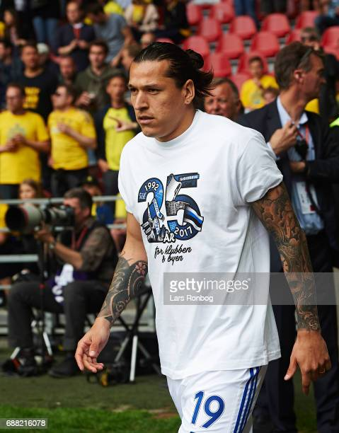 Federico Santander of FC Copenhagen walks on to the pitch prior to the Danish Cup Final DBU Pokalen match between FC Copenhagen and Brondby IF at...