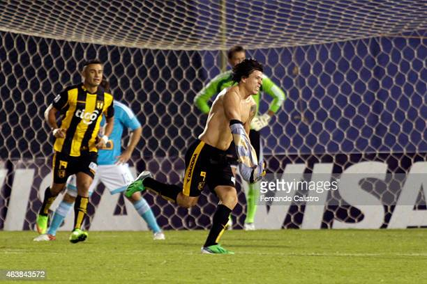 Federico Santander of Guarani celebrates after scoring the tying goal of his team during a match between Guarani and Sporting Cristal as part of Copa...
