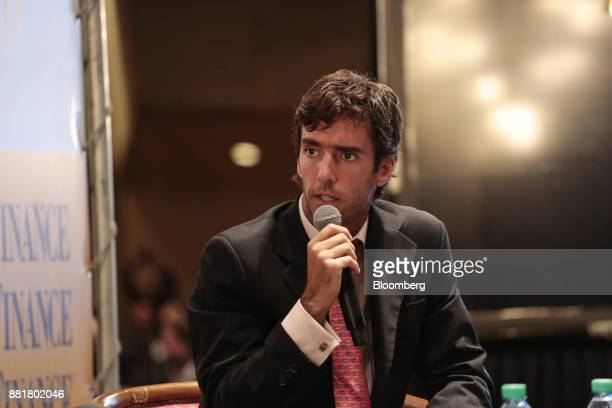 Federico Tomasevich president of Puente Hnos Sociedad de Bolsa SA speaks during the Argentina SubSovereign and Infrastructure Finance Summit in...