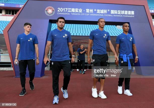 Federico Valietti, Citadin Martins Eder, Joao Miranda de Souza Filho and Joao Mario of FC Internazionale look on before the press conference on July...