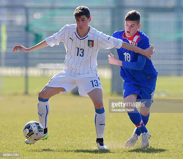 Federico Valietti of Italy and Ivan Ikic of Croatia in action during the international friendly match between Italy U16 and Croatia U16 on February...