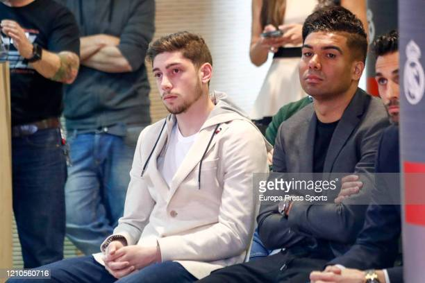 Federico Valverde and Carlos Henrique Casemiro players of Real Madrid looks on during the signing of the sponsorship agreement between Real Madrid CF...