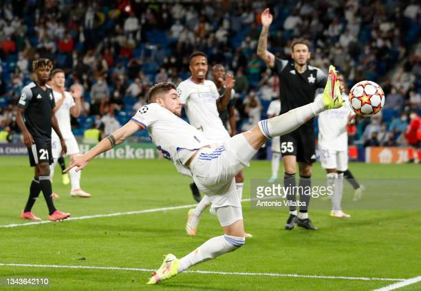 Federico Valverde and Éder Militão both of Real Madrid in action during the UEFA Champions League group D match between Real Madrid and FC Sheriff at...